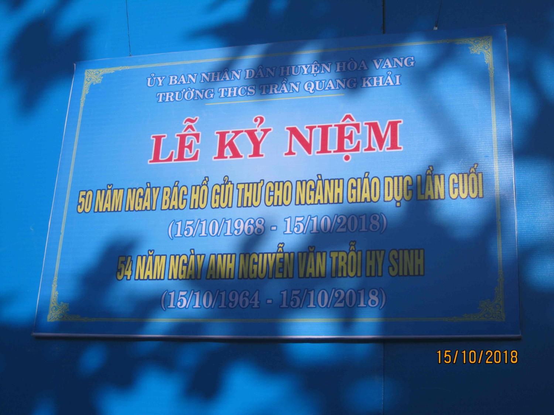 Kỷ niệm 50 năm ngày Bác Hồ gửi thư cho ngành giáo dục lần cuối và 45 năm ngày anh Nguyễn Văn Trỗi Hy sinh
