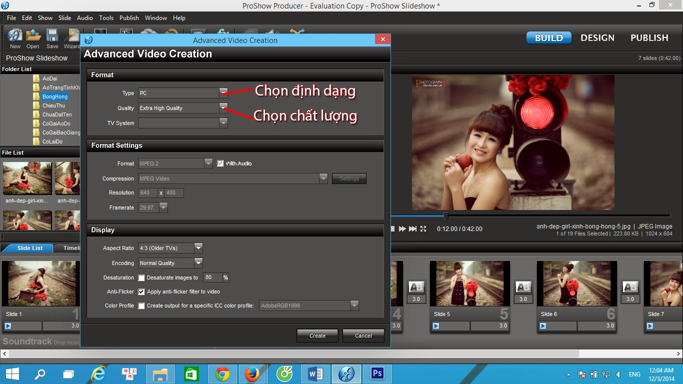 cach xuat video trong proshow producer