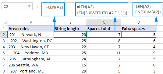 count spaces excel